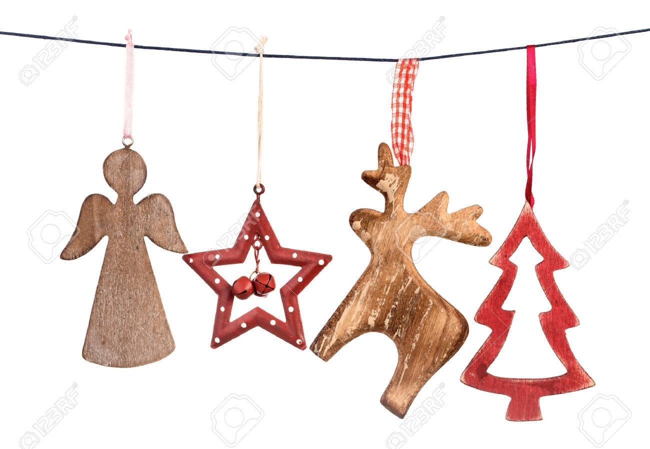Old Vintage Christmas Decorations Hanging On String Isolated On White  Background Stock Photo  49033302