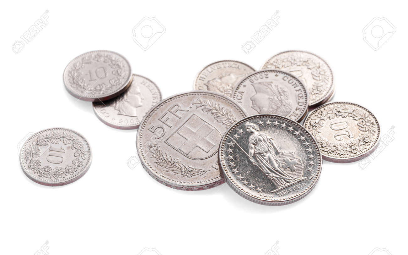 Modern swiss change coins on white - 168914243