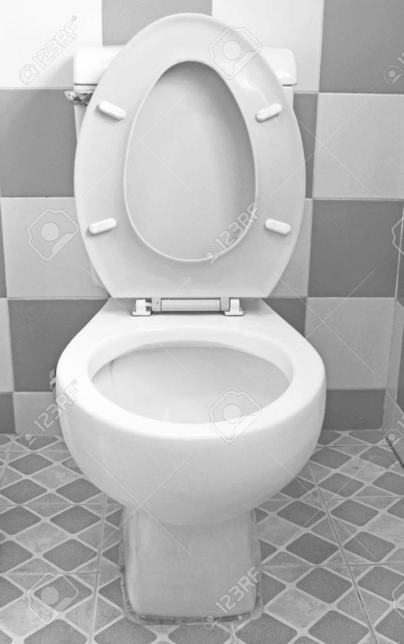 Bathroom Floor Tiles Toilet White Stock Photo Picture And - White toilet with black seat