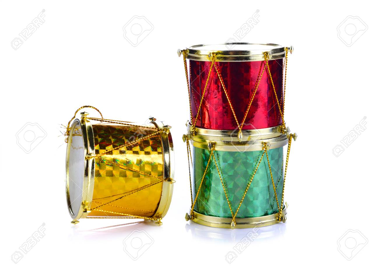 Christmas Drum.Christmas Ornaments Shaped Drum Red Green Gold On A White