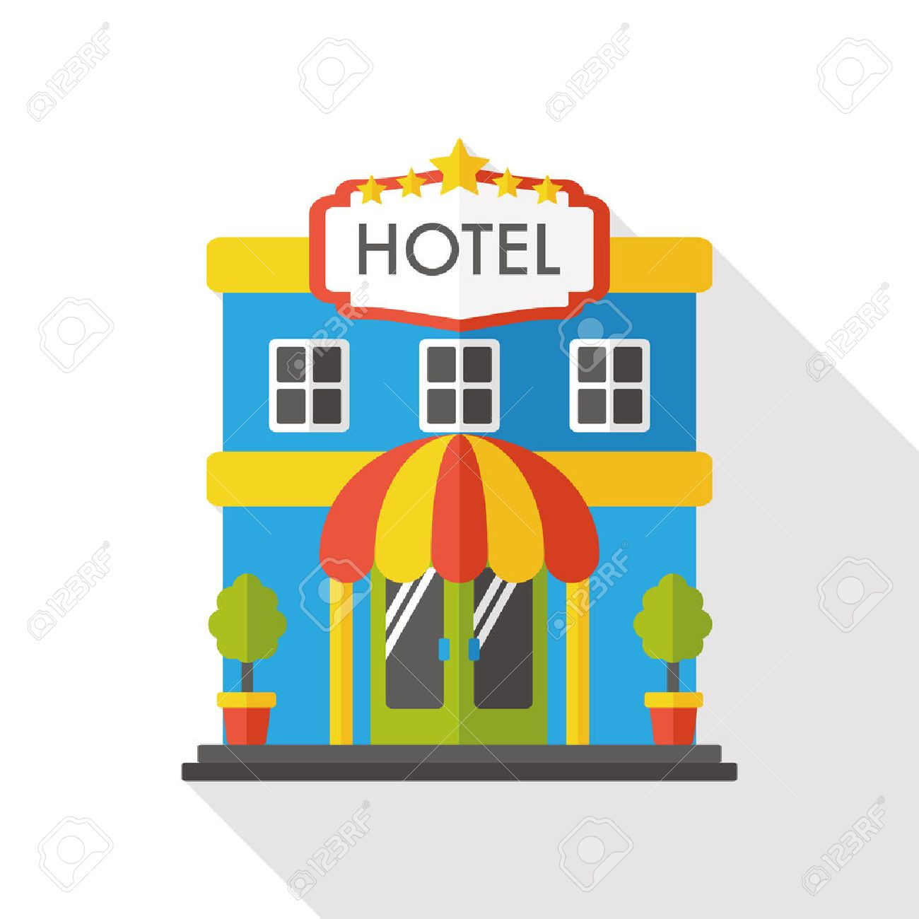 Hotel Flat Icon Royalty Free Cliparts Vectors And Stock