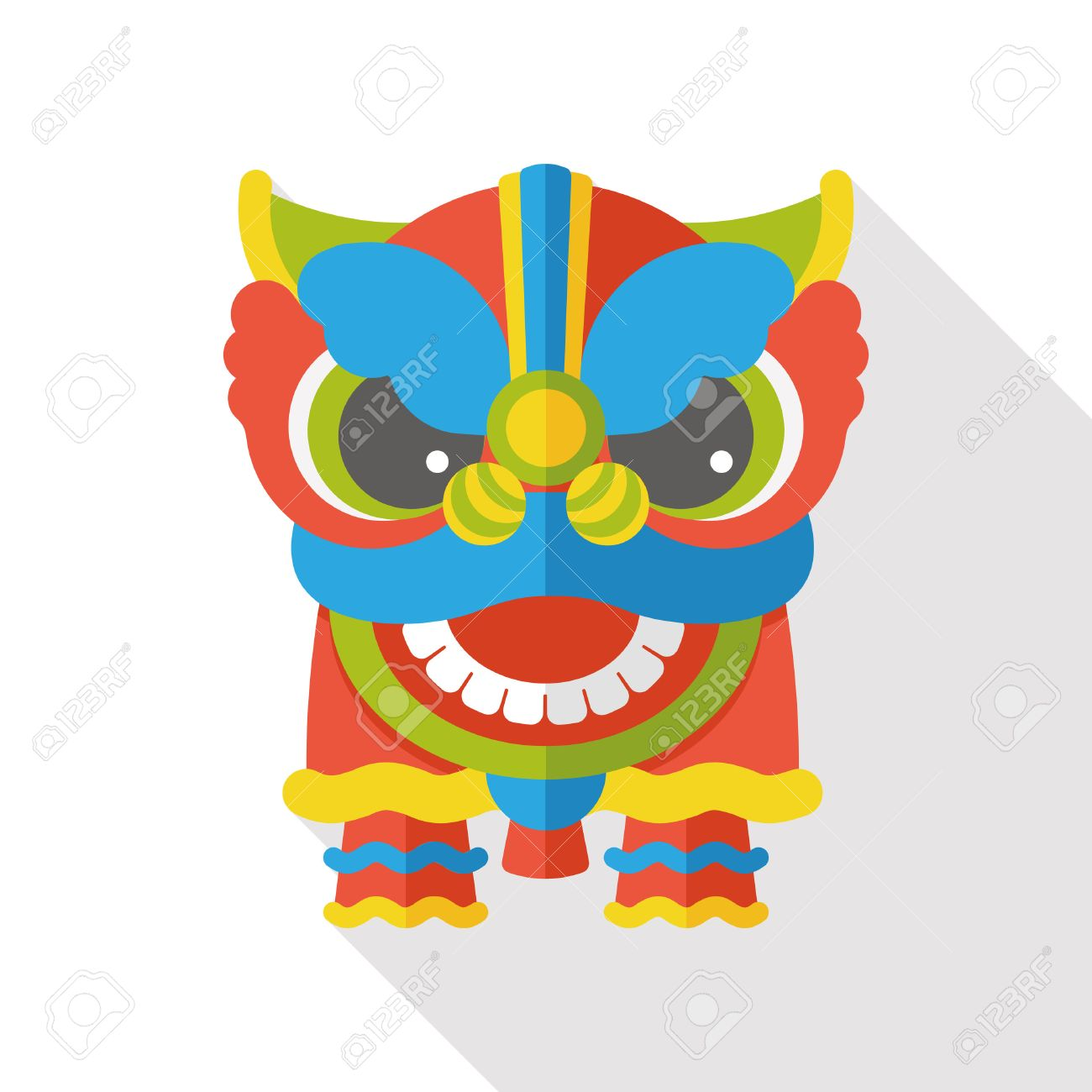 Chinese New Year flat icon; The dragon and lion dancing head - 47557252