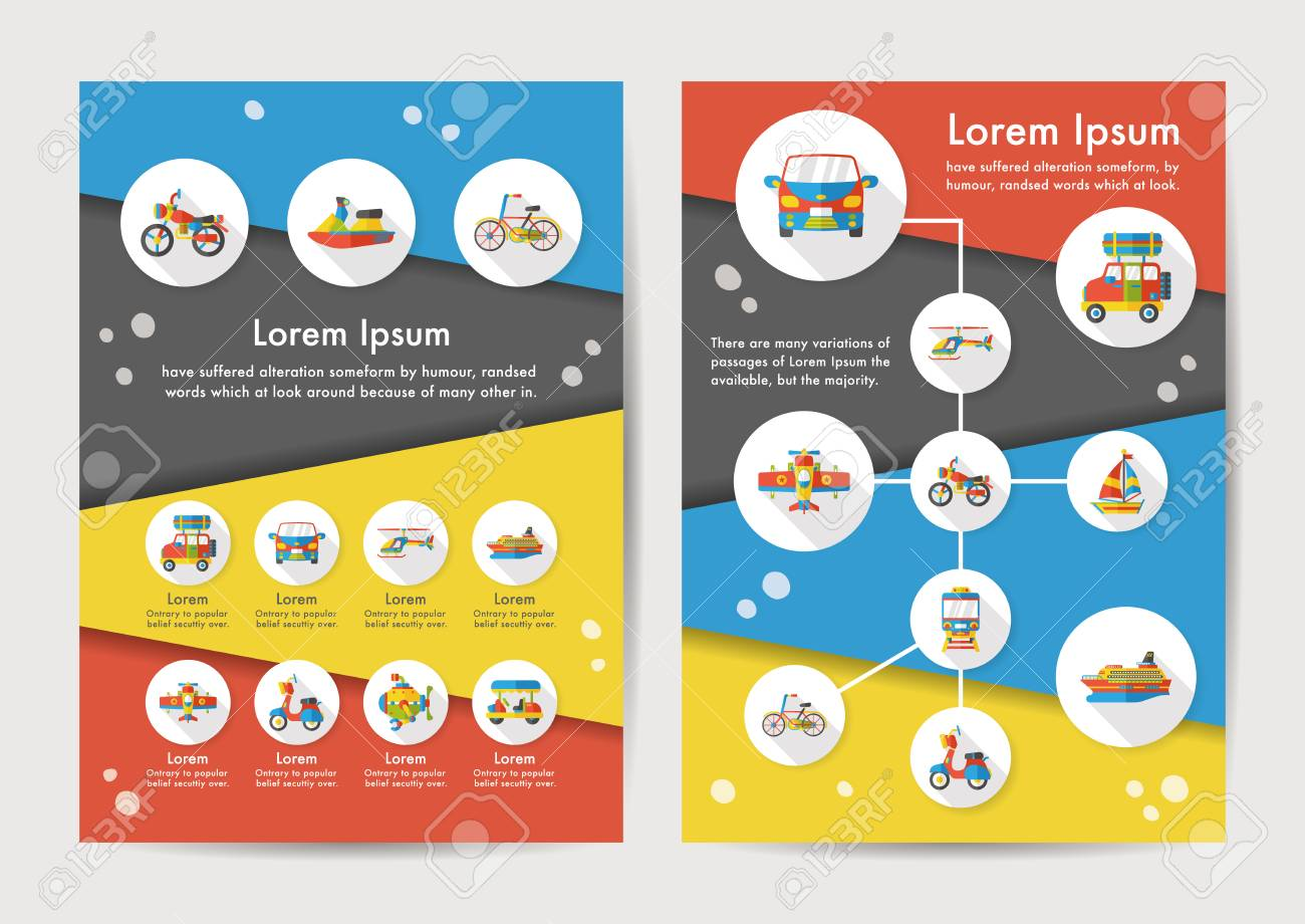 Transport icons set with long shadow - 68494519