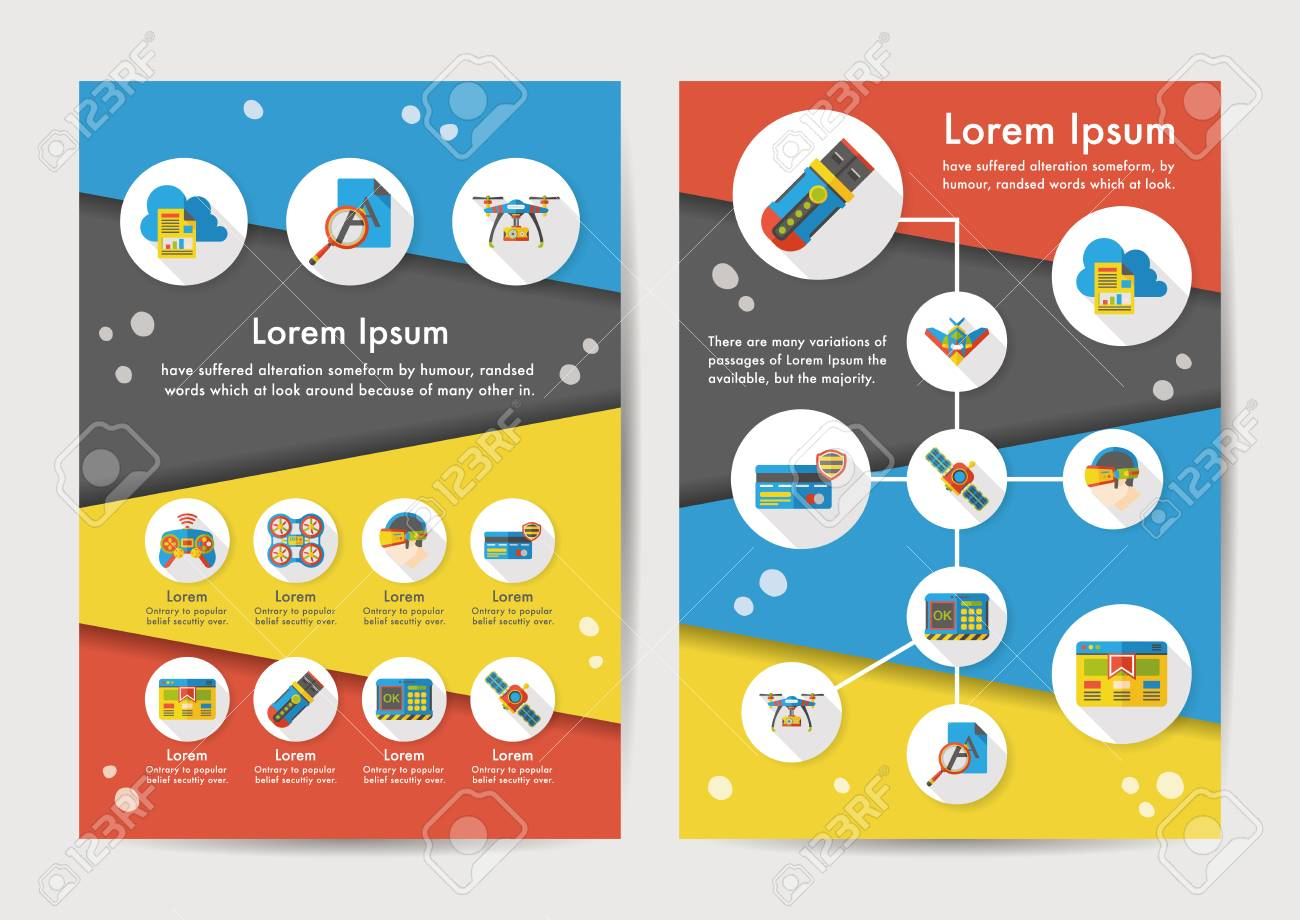 Technology icons set with long shadow - 68494510
