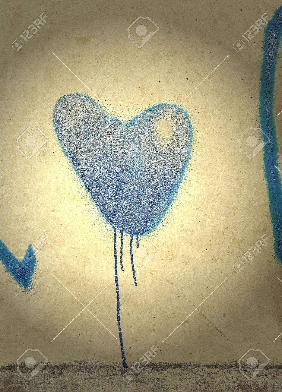 Cuore blu su sfondo cupo Archivio Fotografico - 9789031