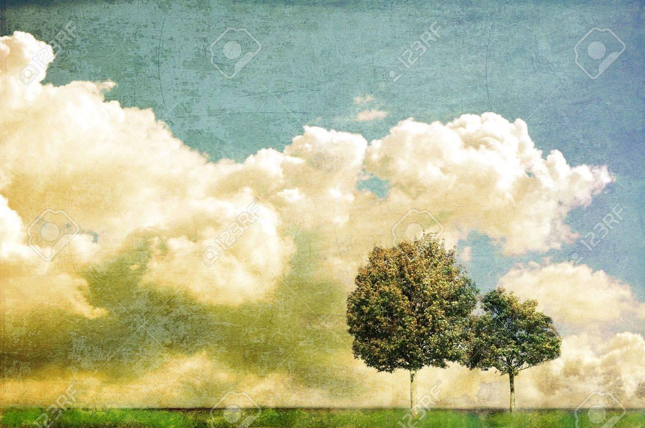 Paesaggio surreale con due alberi e cielo nuvoloso Archivio Fotografico - 16026863