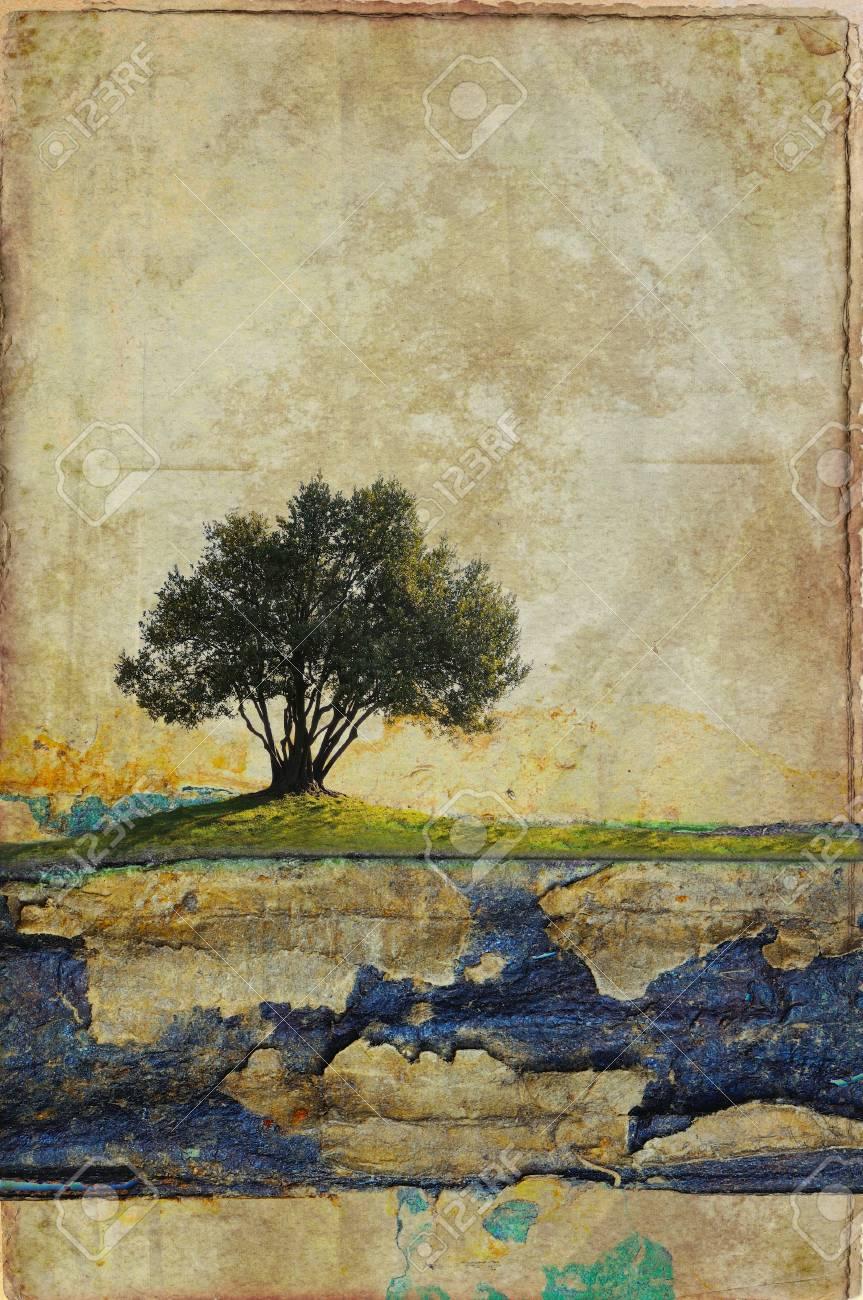 Paesaggio surreale con singolo albero Archivio Fotografico - 16129958