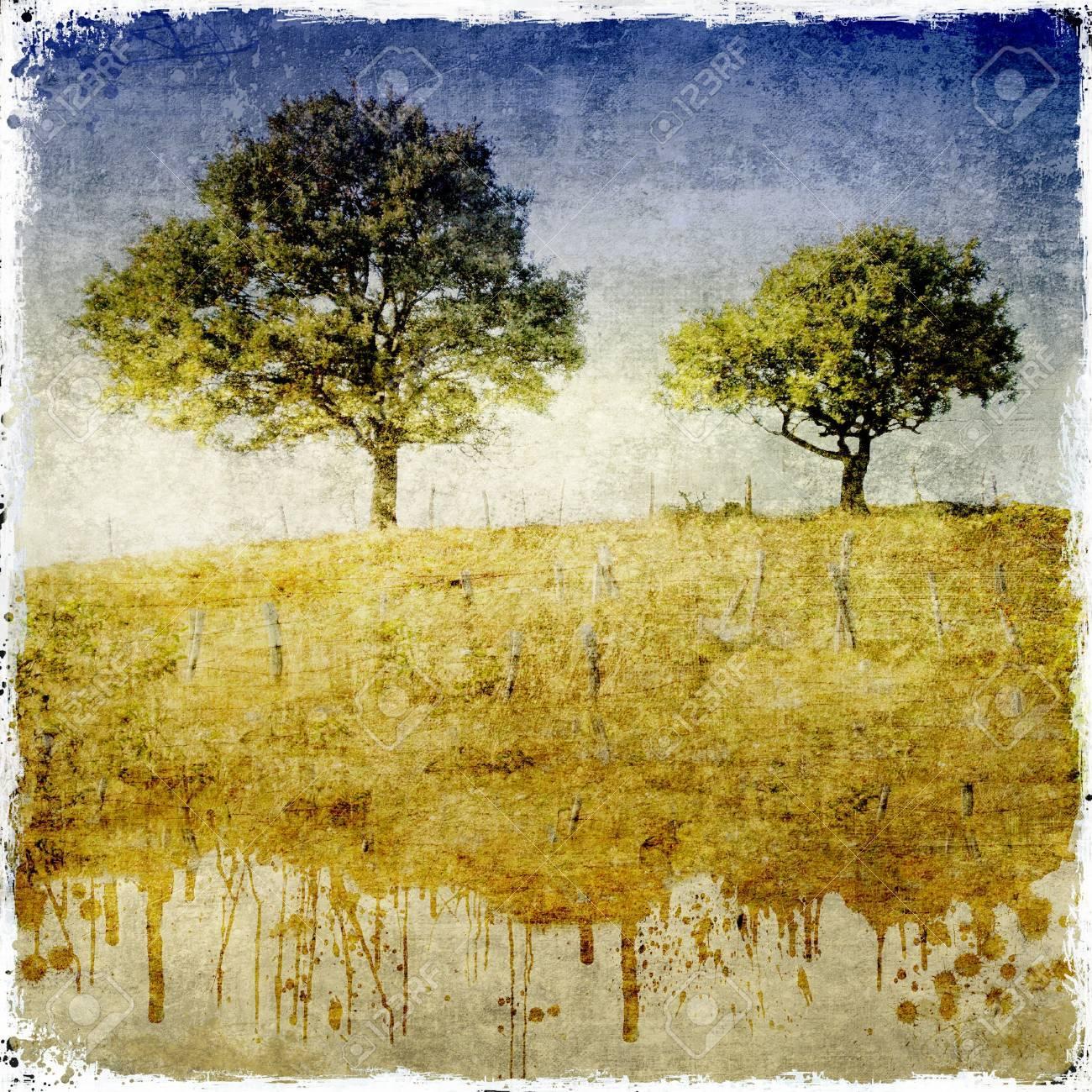 Dripping dettaglio paesaggio con due alberi Archivio Fotografico - 16251864