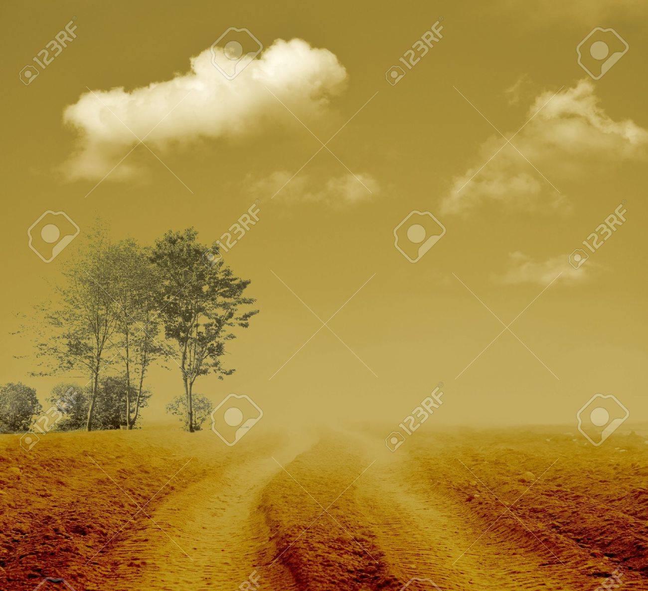 Vintage nebbioso percorso verso il nulla Archivio Fotografico - 16930033