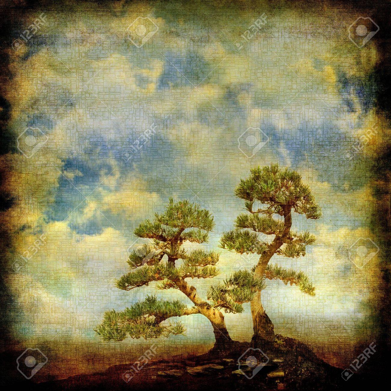 Due pini su sfondo del cielo vintage. Archivio Fotografico - 17074647