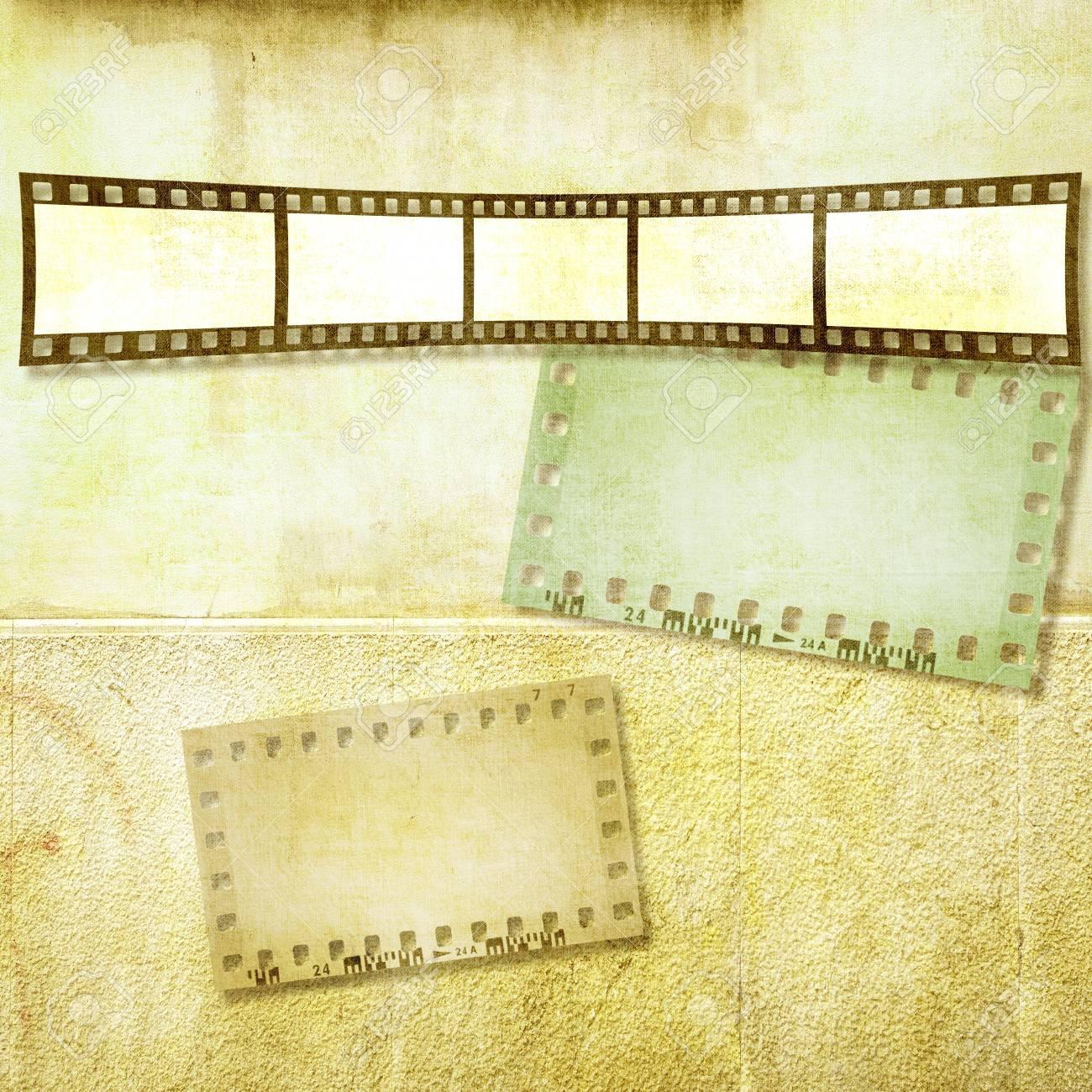 Vintage-Filmstreifen Rahmen Auf Alten Mauer. Sepia-Tönen ...