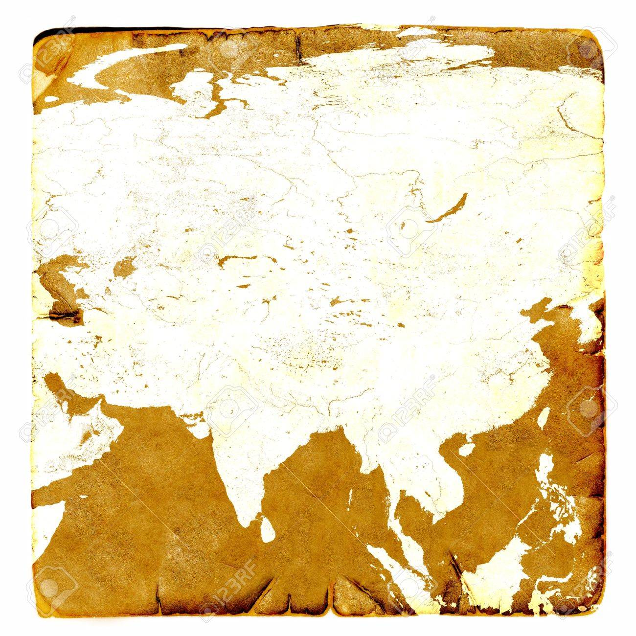 Map Of Asia Continent Blank In Old Style Russia China India