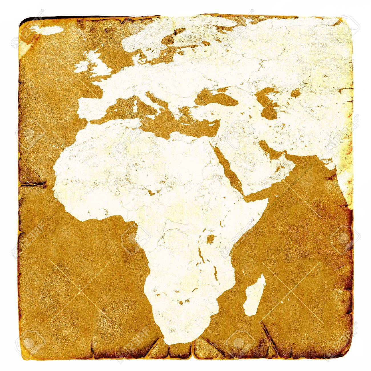 Map Of Africa And Europe Blank In Old Style. Brown Graphics In