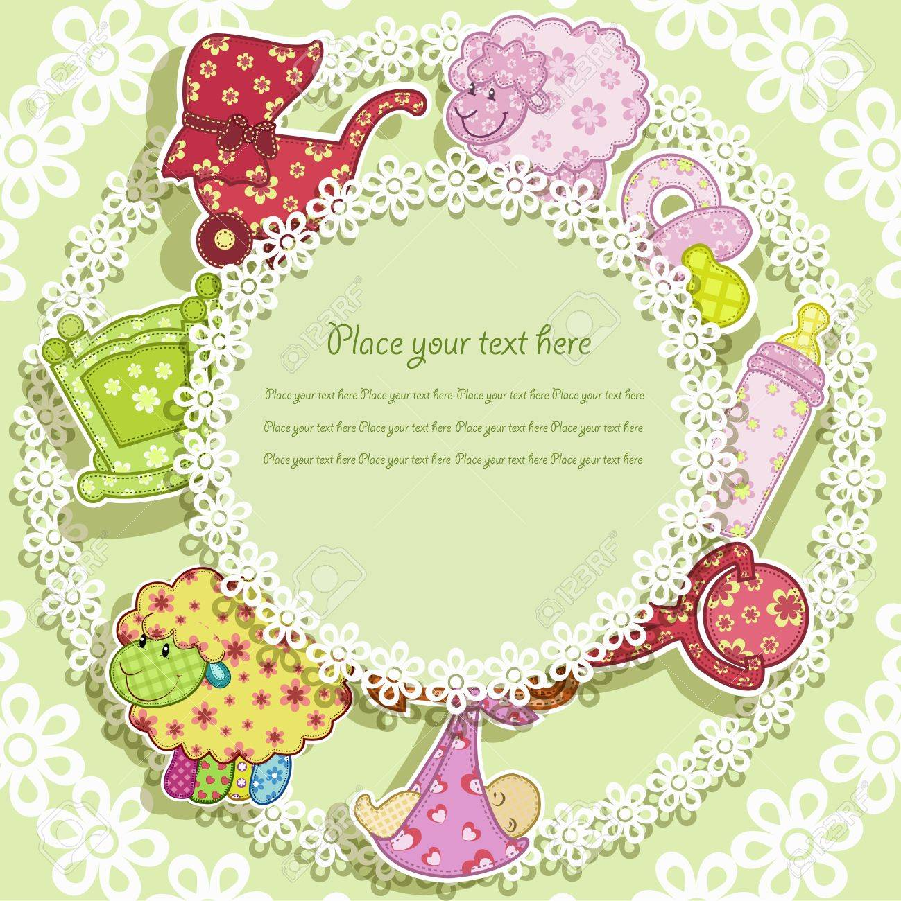 Set for the baby on a green background with flowers Stock Vector - 13238675