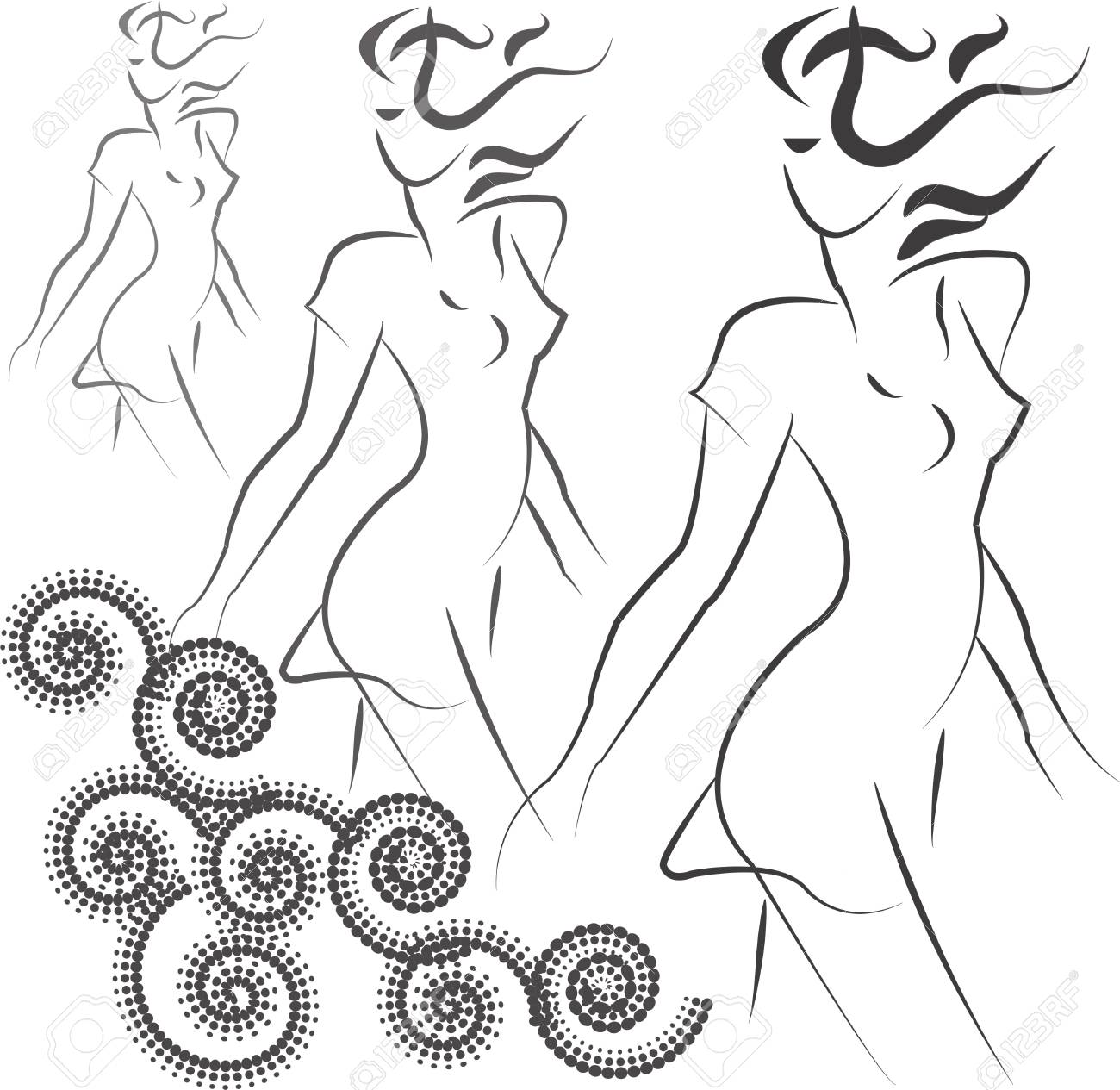 Outline of three girls on a white background with curls Stock Vector - 13270268