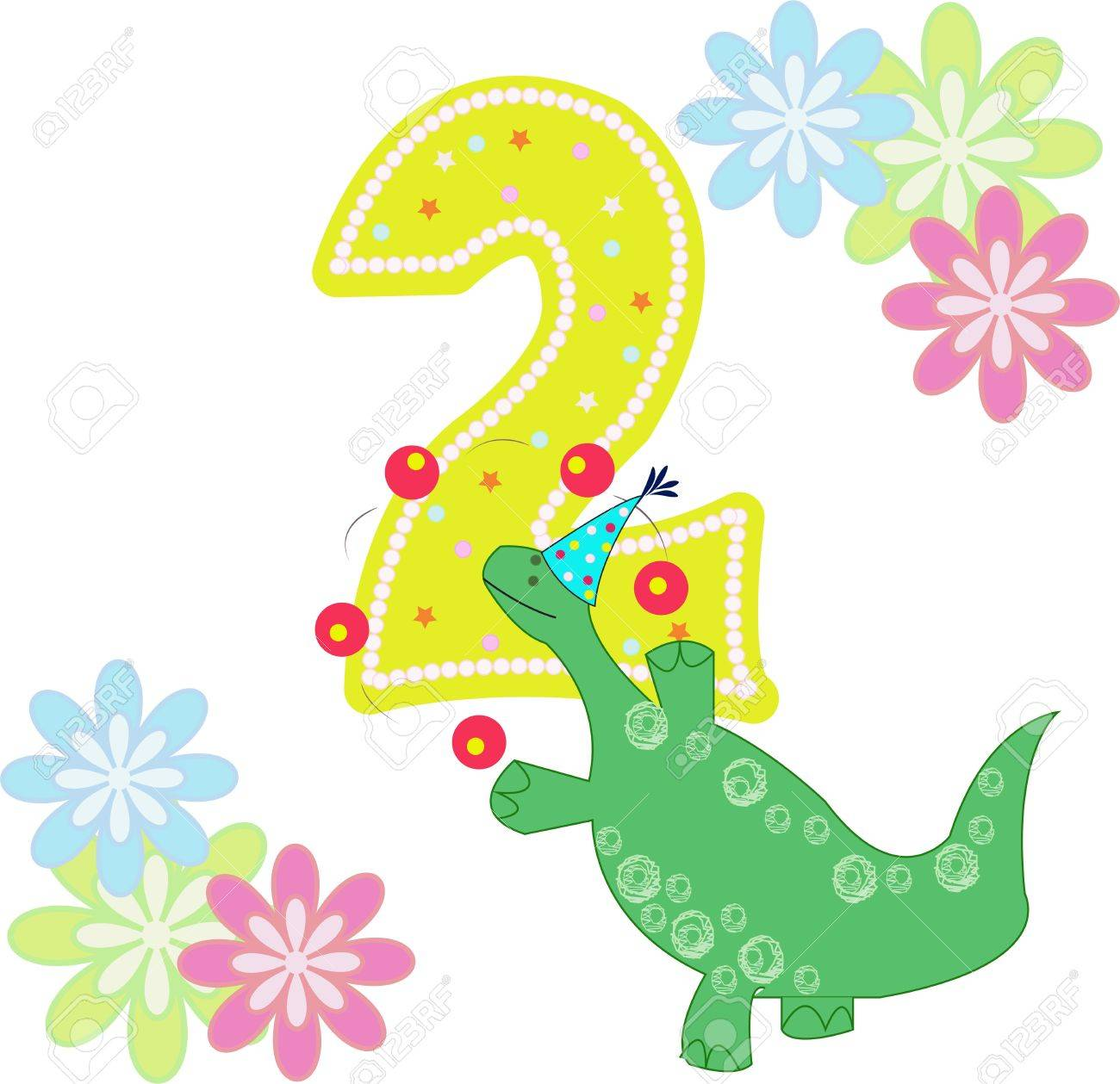 Number two with a dinosaur and flowers on a white background Stock Vector - 13270215