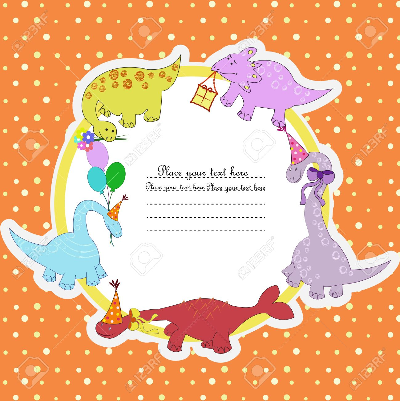 Multi-colored dinosaurs with balloons colors and gifts on a circle on an orange background in white peas Stock Vector - 13270243