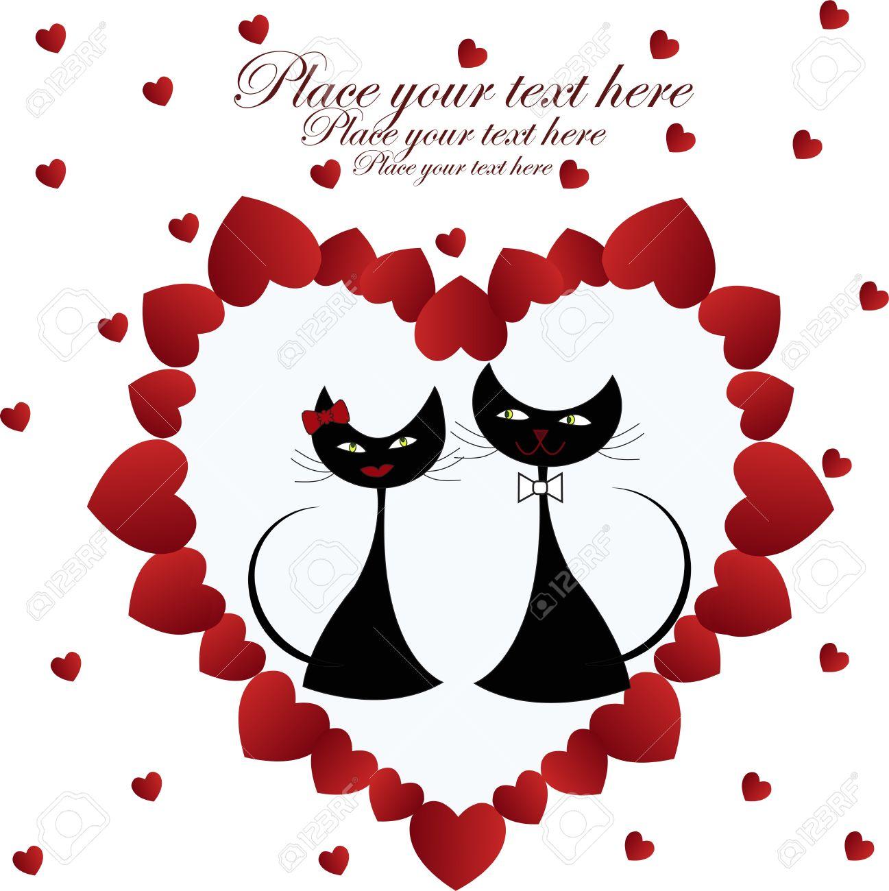 Enamorado gatos negros en el corazón sobre un fondo blanco Foto de archivo , 13270288