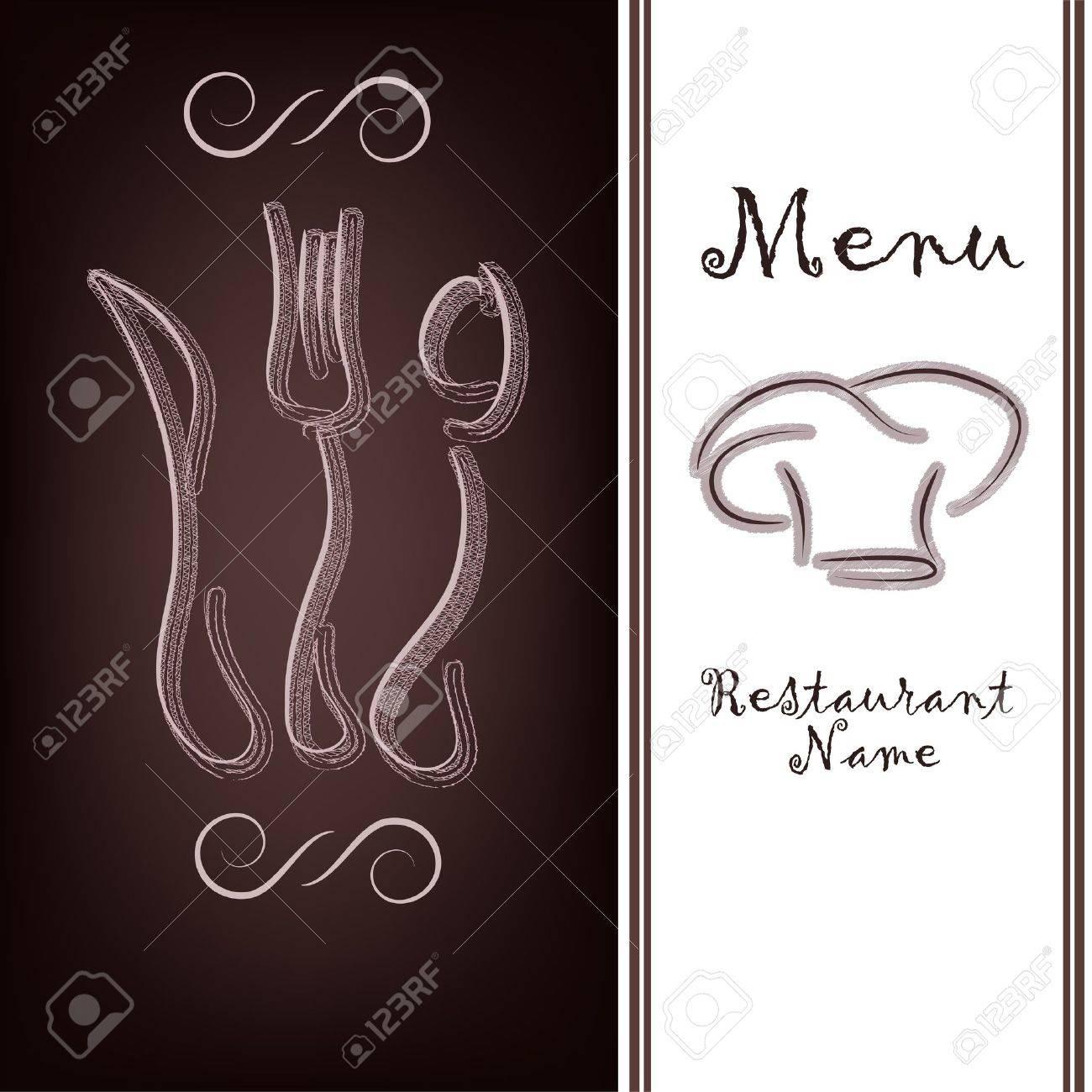 Outline of tableware on a brown background Stock Vector - 13302818