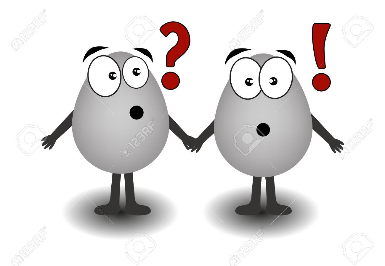 Two gray eggs a question and exclamation on a white background Stock Vector - 13334207