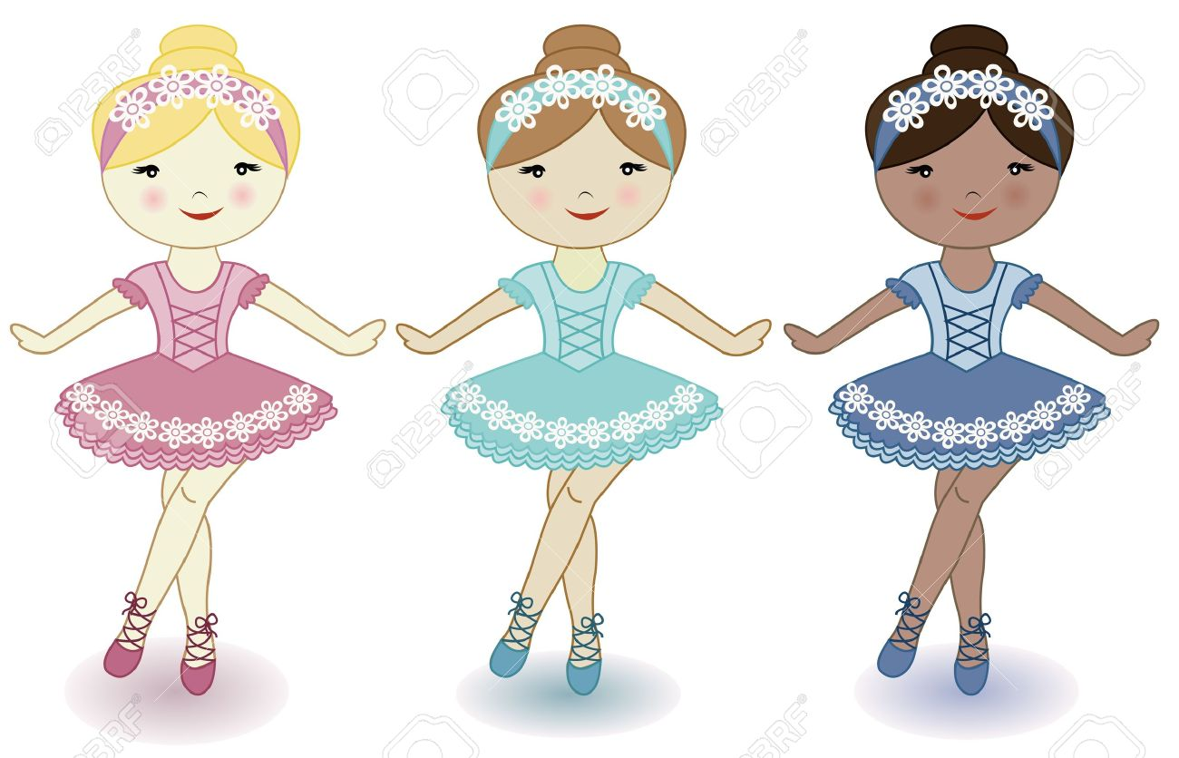 three beautiful lovely girls of ballerinas on a white background