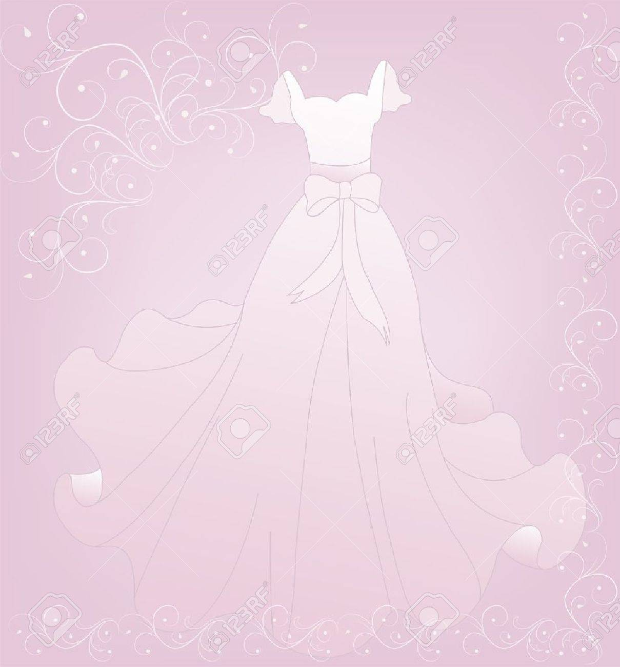 Beautiful White Wedding Dress On A Pink Background With Lace Royalty ...