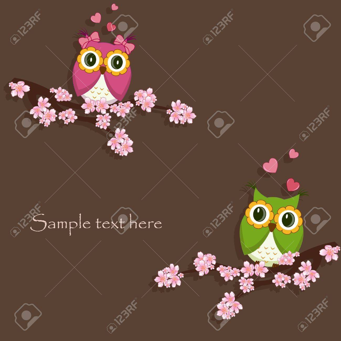 Two funny, love the owl sitting on a flowering branch Stock Vector - 13514279
