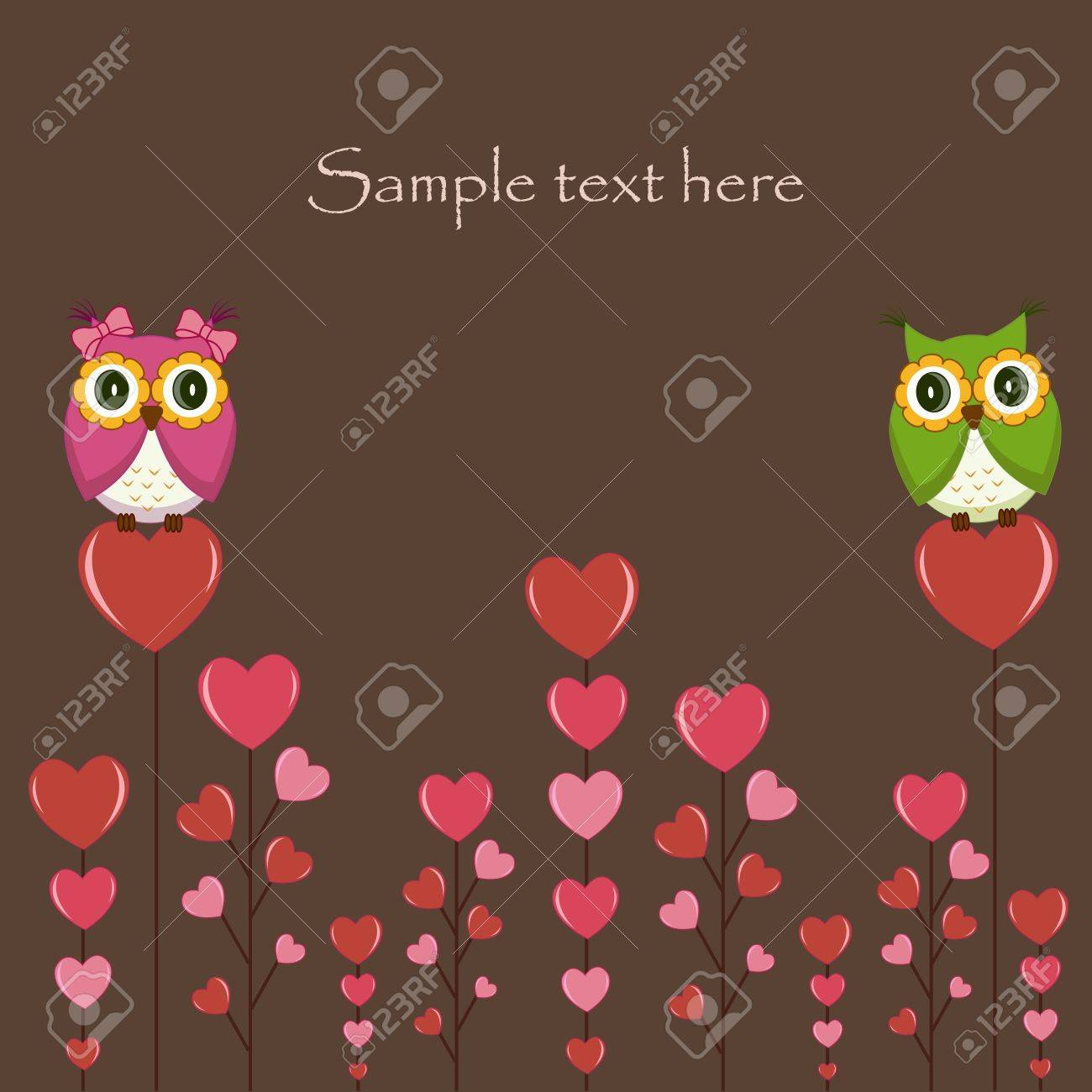 Owls couple in love on the tree. Vector Stock Vector - 13514269