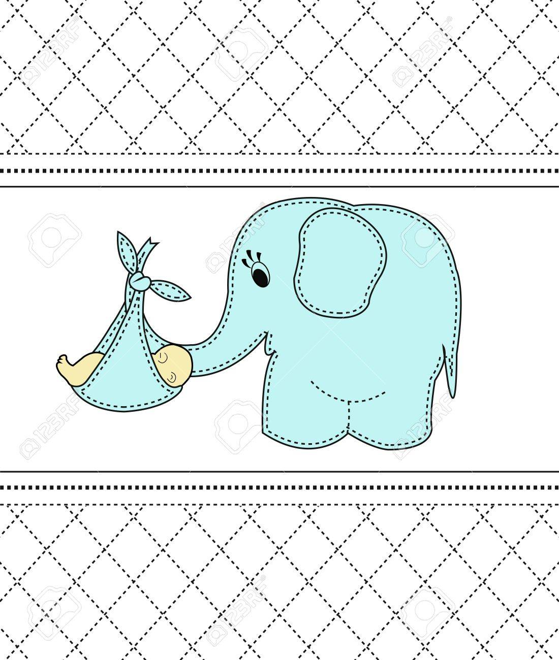 Childrens card with a blue elephant and the baby Stock Vector - 13595978
