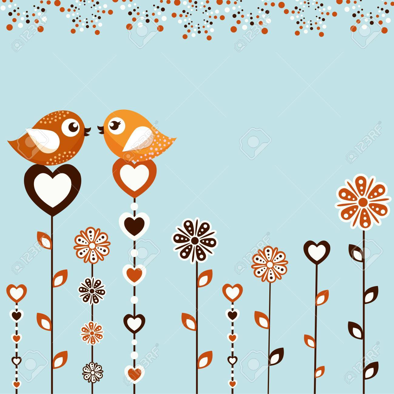 Birds with flowers Stock Vector - 14644285
