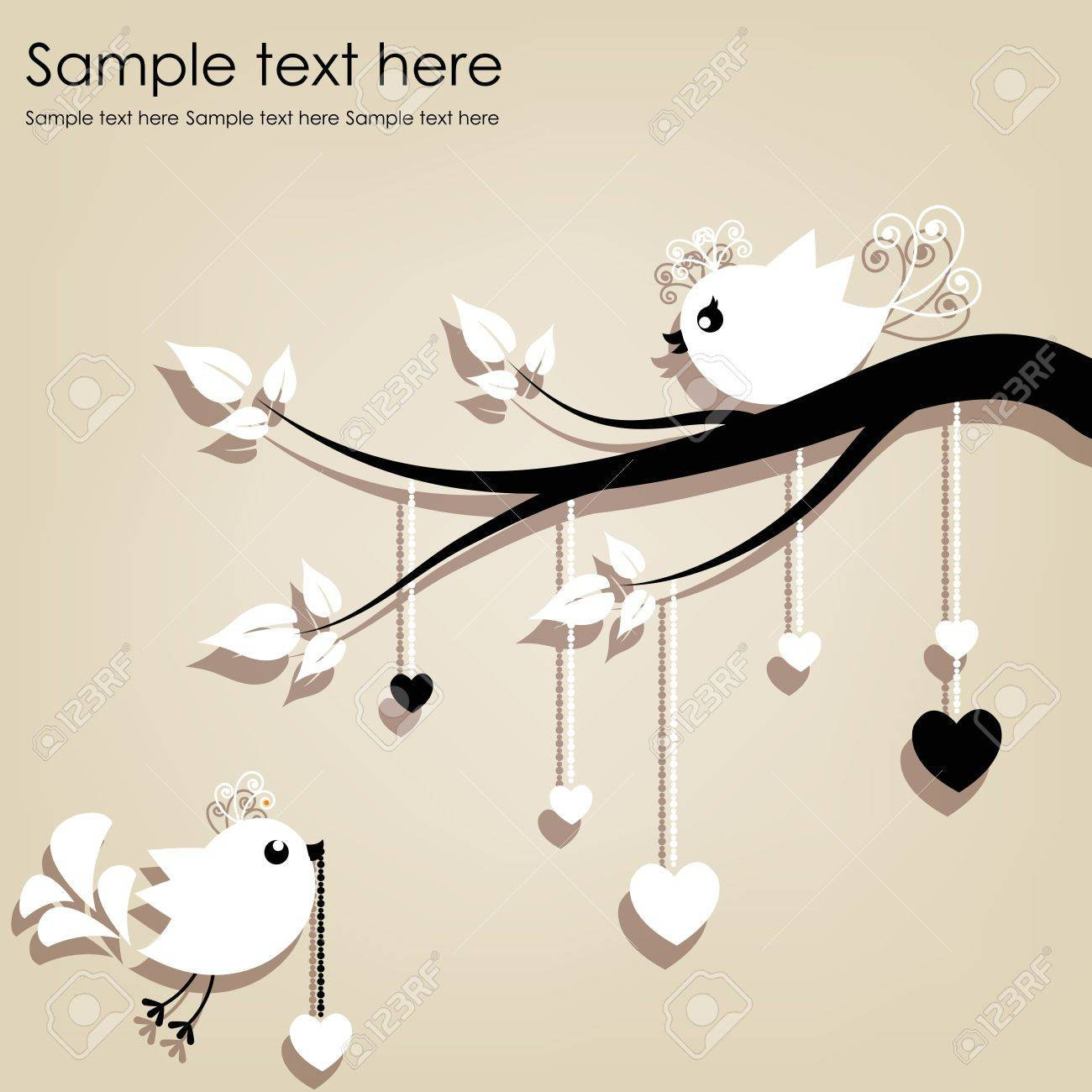 Two white birds on a branch with hearts on a gray background Stock Vector - 15017922