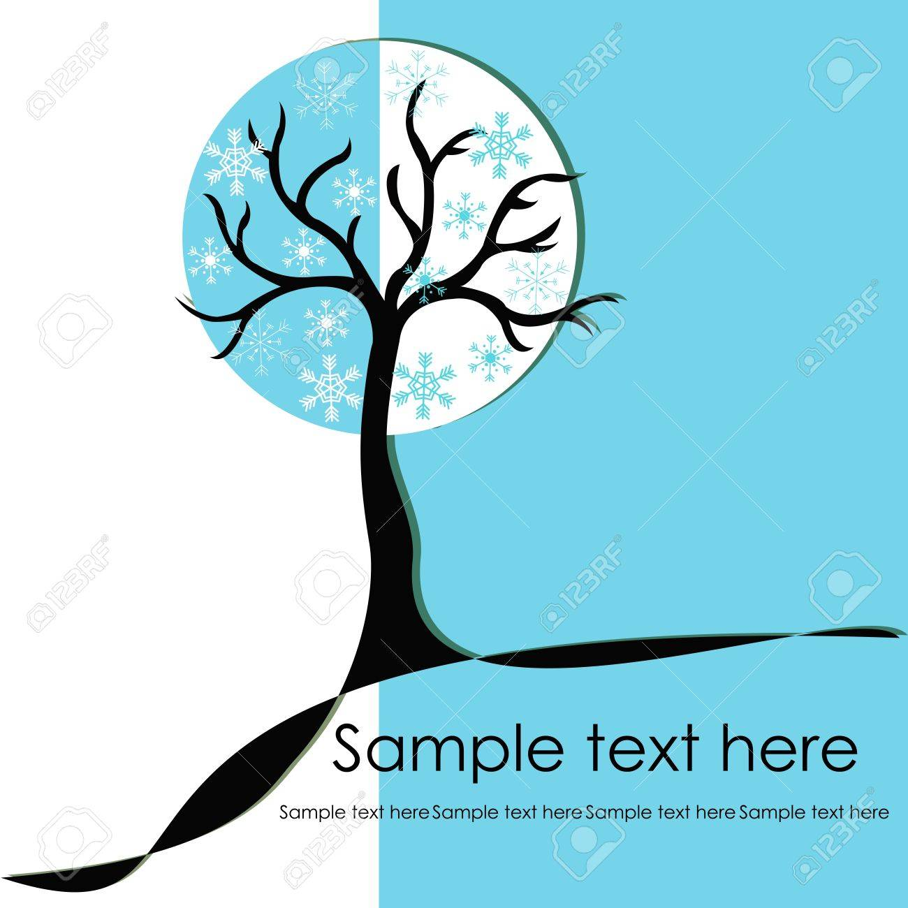 Abstract winter tree with snowflakes Stock Vector - 15314963