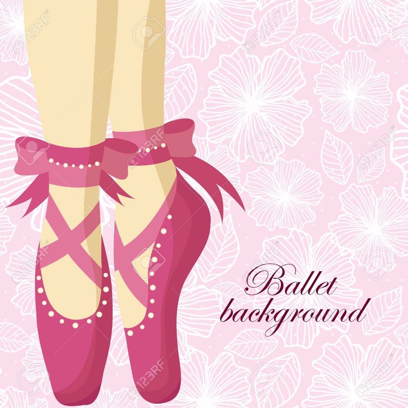 76af6d92bf0ad Beautiful feet of a ballerina in pointe shoes on a pink background with patterns  Stock Vector