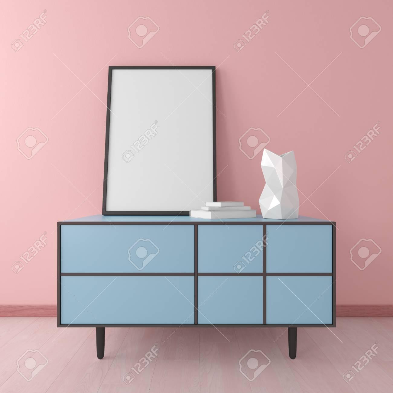 Bleu Commode Avec Cadre Et Vase En Chambre Rose Intérieur Mockup ...