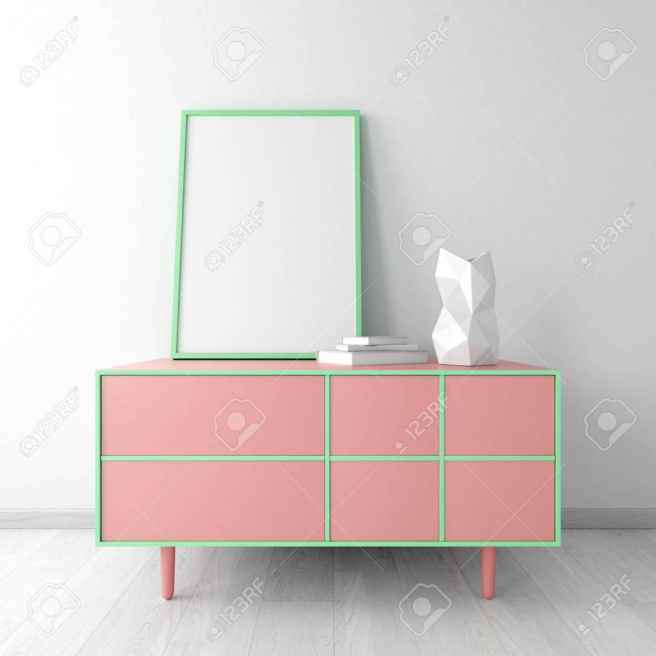 Rosa Kommode Mit Rahmen Und Vase Im Weissen Raum Interior Mockup
