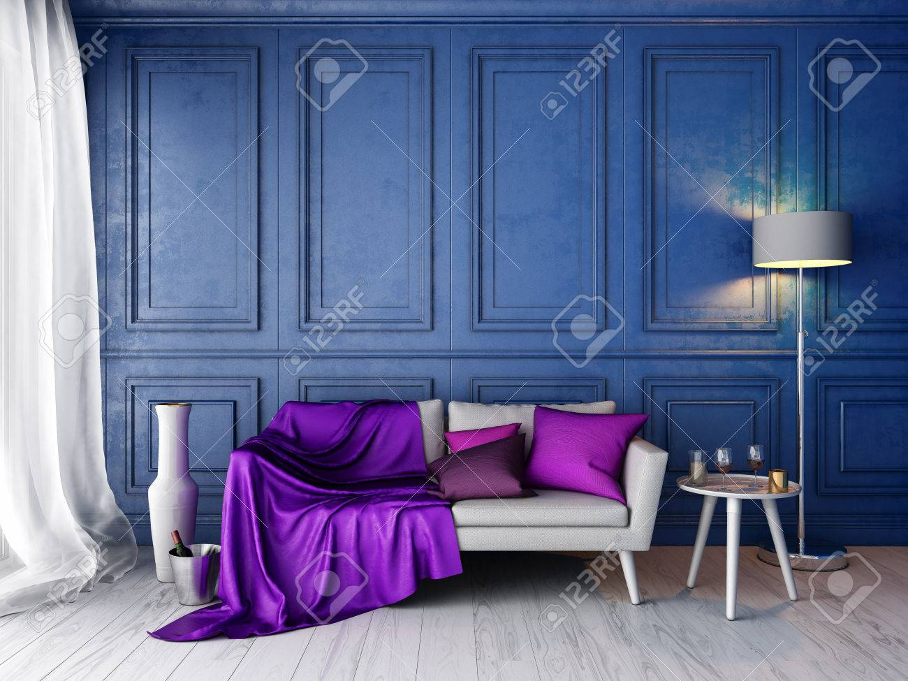 Cool Interior In Classic Style With Blue Wall And White Sofa Pillows Ibusinesslaw Wood Chair Design Ideas Ibusinesslaworg