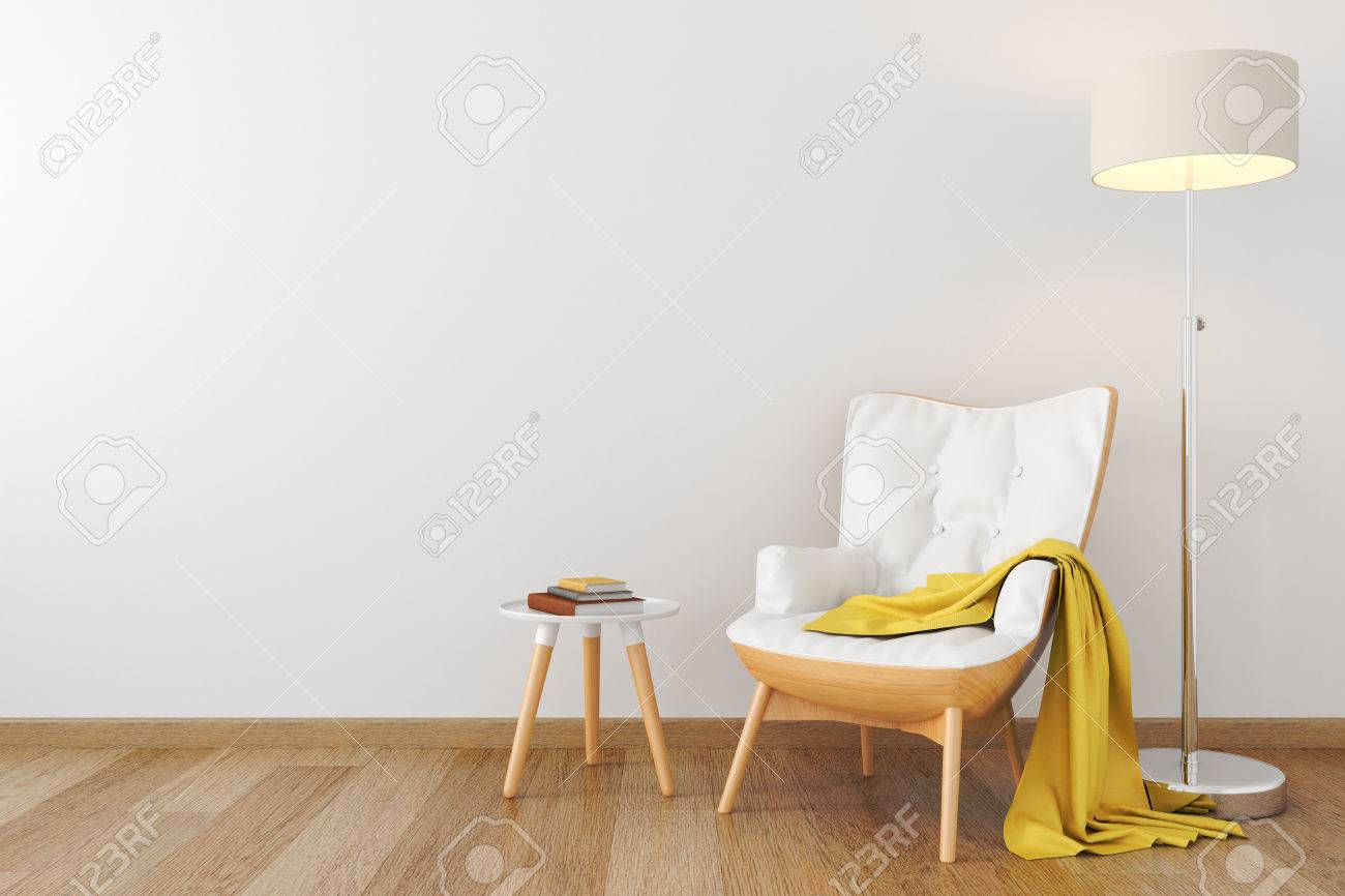 White leather wood armchair in empty room. - 71169485