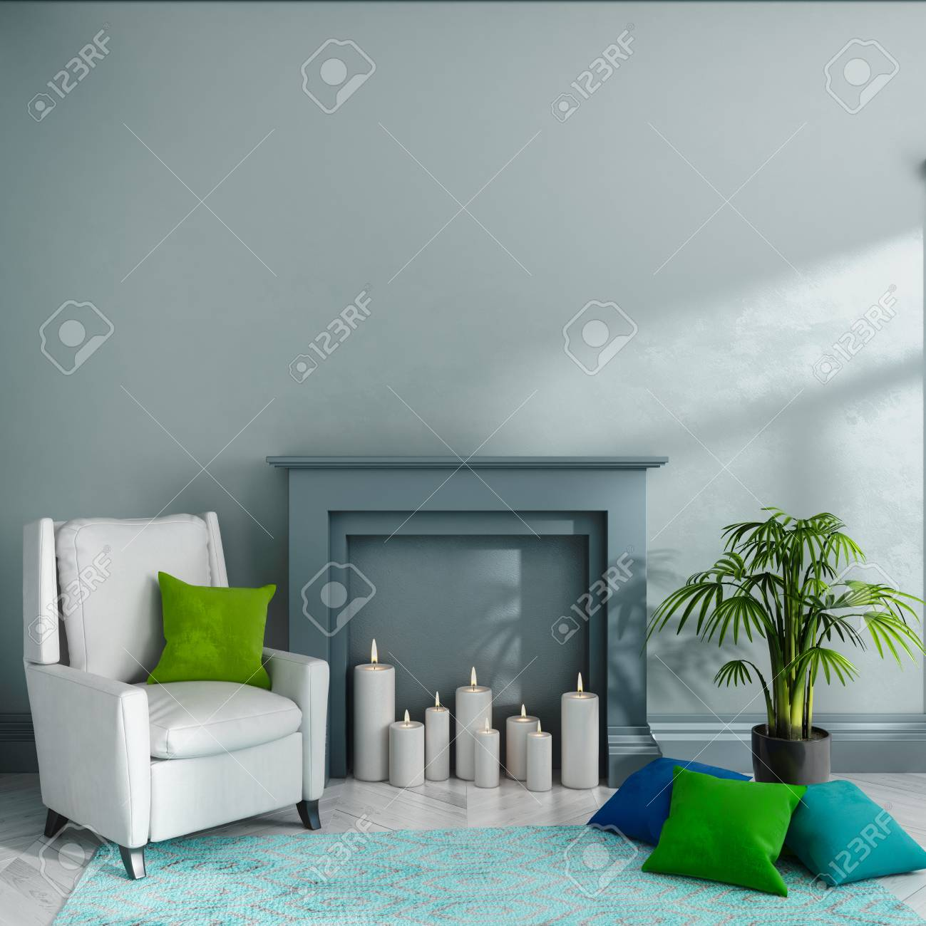 Salle vide avec mur gris, cheminée, bougies, fauteuil, oreillers, tapis et  plante. Intérieur scandinave. Maquette. Illustration de rendu 3D