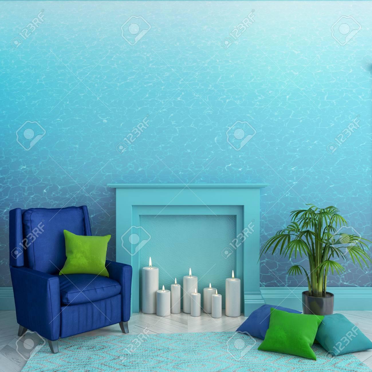 壁 暖炉 キャンドル アームチェア 枕 カーペット 植物に青い水テクスチャー壁紙と空の部屋 北欧のインテリア モックアップを作成します 3 D レンダリング図 の写真素材 画像素材 Image