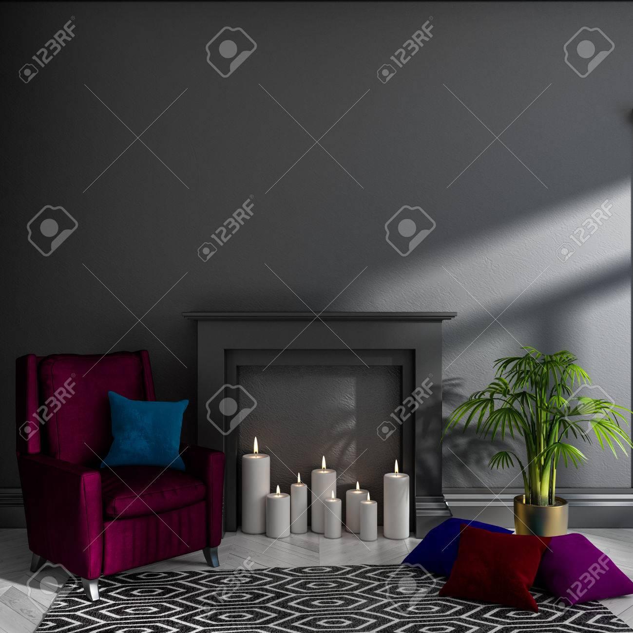 vide chambre sombre avec mur noir, cheminée, bougies, fauteuil