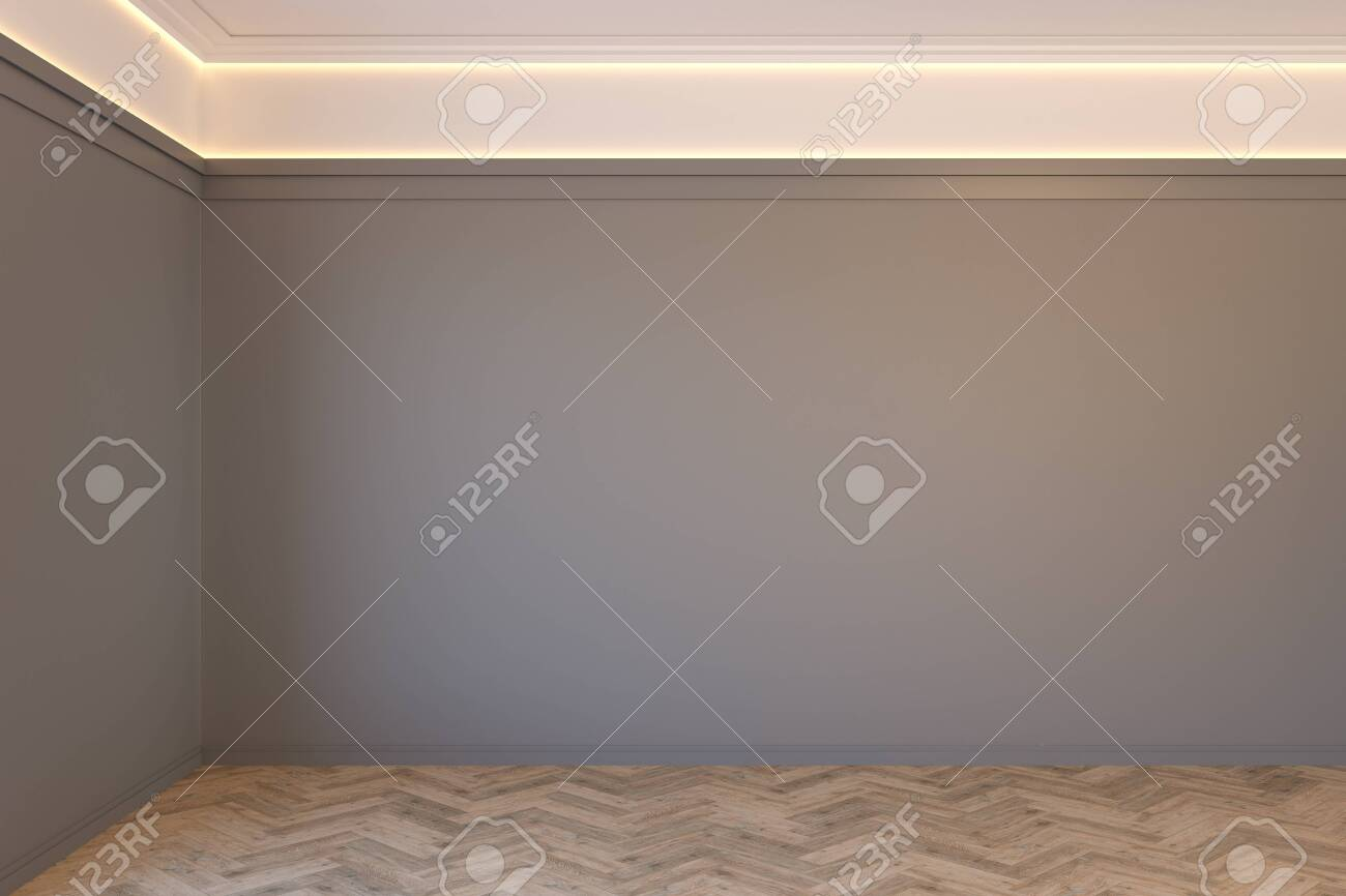 Empty gray interior with blank wall, mouldings, ceiling backlit