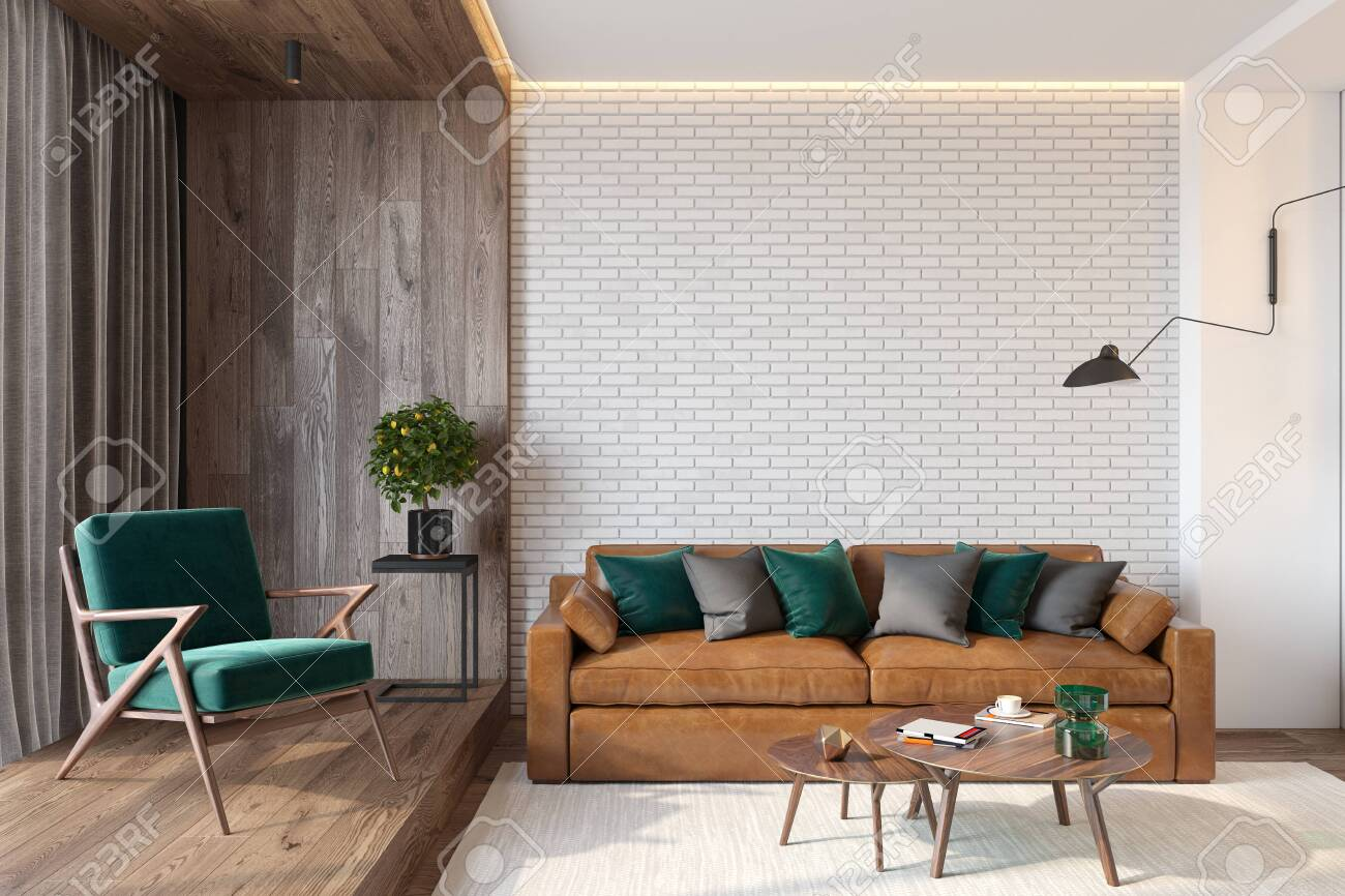 Modern living room interior with brick wall blank wall, sofa,..