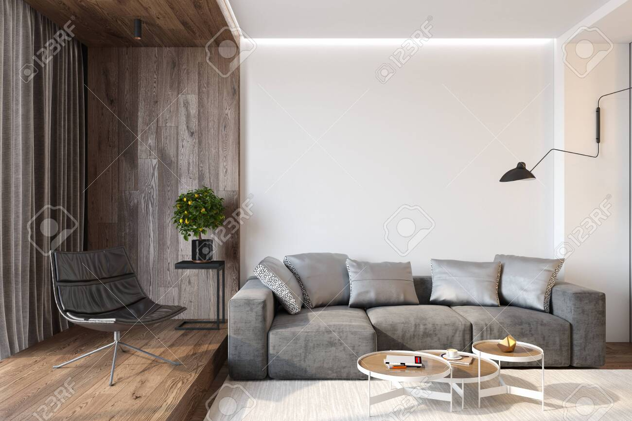 Modern living room interior with blank wall, sofa, lounge chair,..