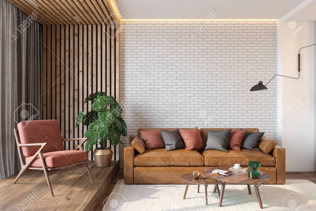 photo stock illustration modern living room interior with brick wall blank wall leather brown sofa red lounge chair table woo