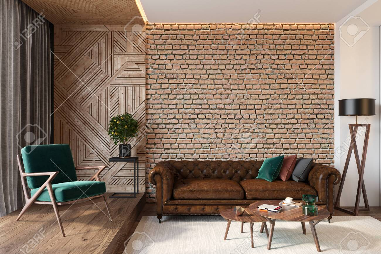 Modern living room interior with brick wall blank wall, leather..