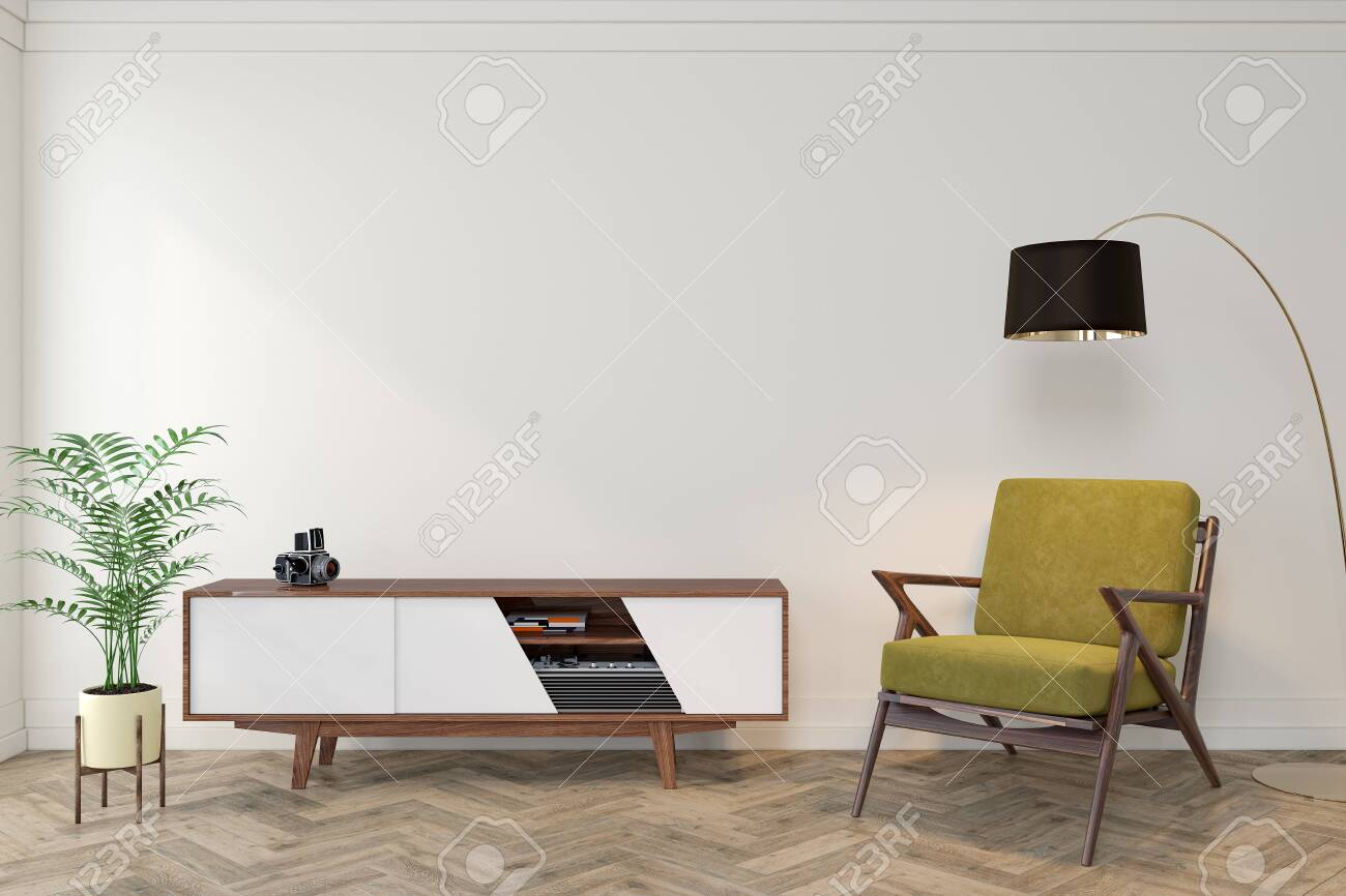Image of: Mid Century Modern Interior Empty Room With White Wall Dresser Stock Photo Picture And Royalty Free Image Image 123791718