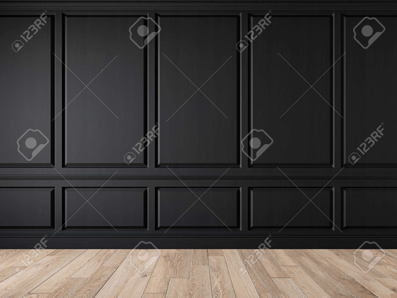 Modern classic black blank wall empty interior with wall panels, molding and wooden floor. 3d render illustration mock up. - 167176723
