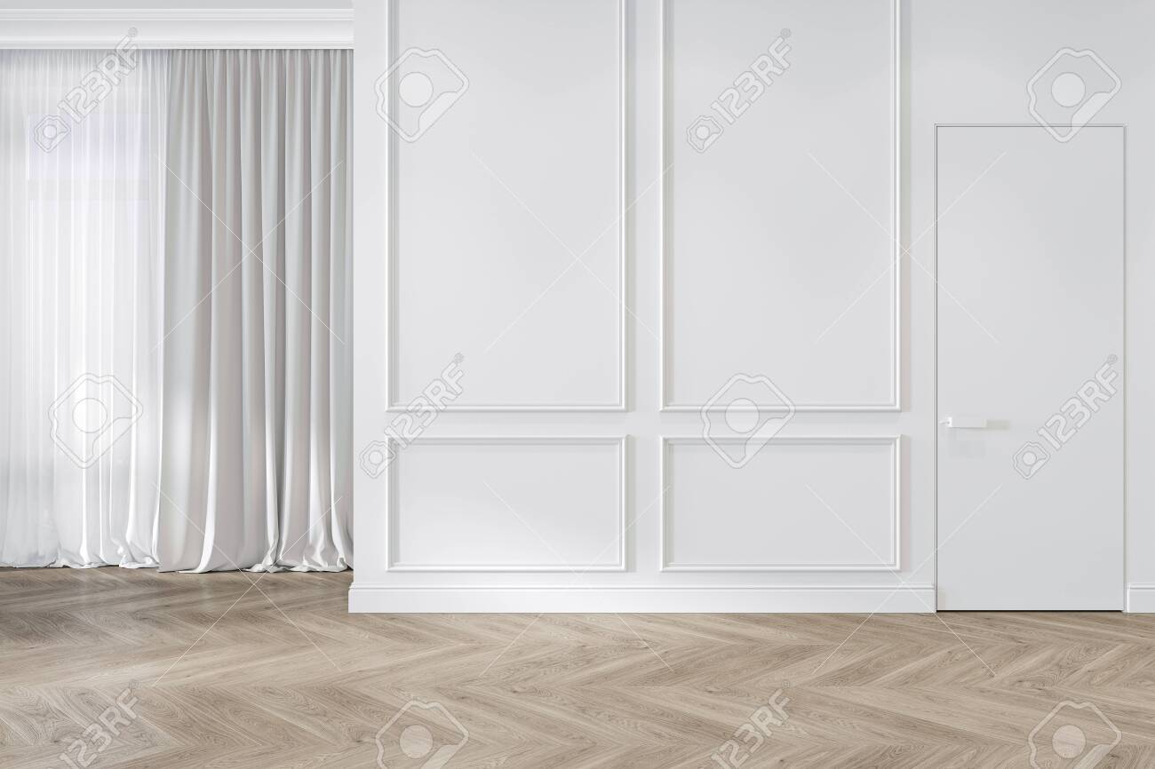 Modern classic white interior blank wall with moldings, curtains, hiden door and wood floor. 3d render illustration mock up. - 142668302