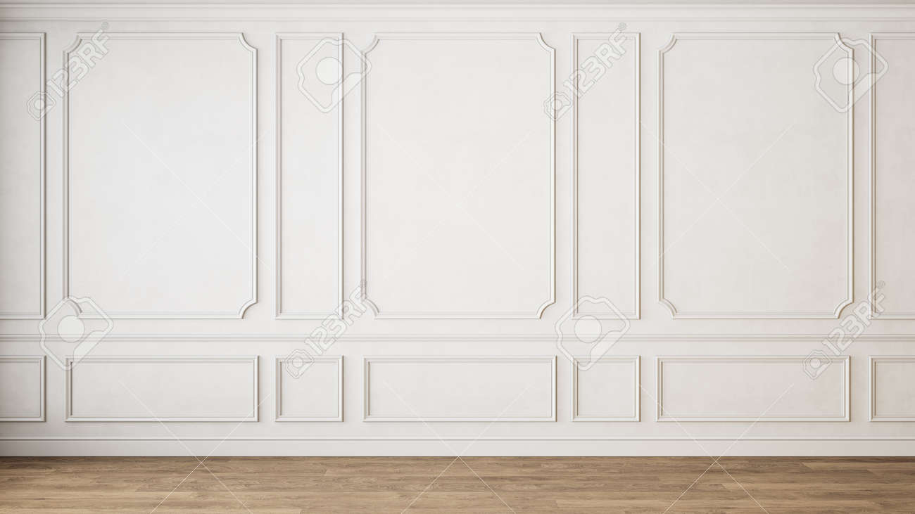 Modern classic white empty interior with wall panels molding and wooden floor. 3d render illustration mock up. - 159383569