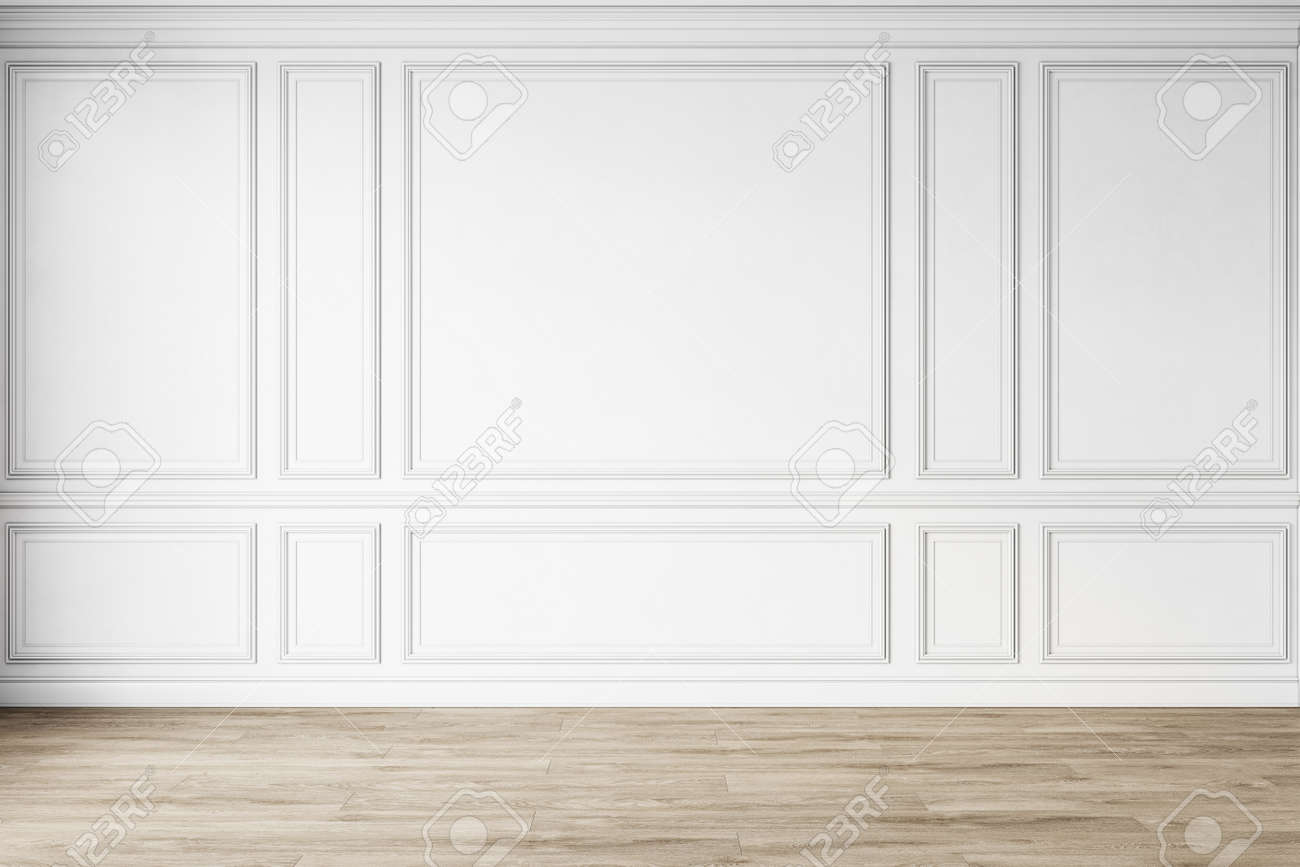 Classic white empty interior with wall panels, moldings and wooden floor. 3d render illustration mock up. - 165336472